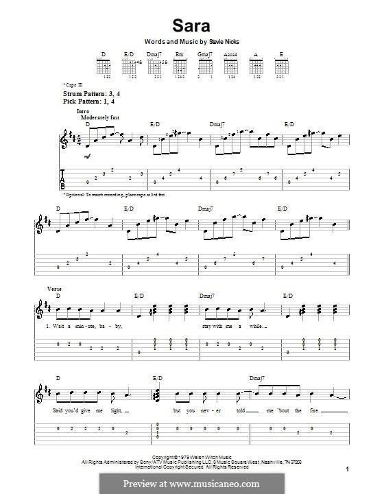 Sara (Fleetwood Mac): Para guitarra (versão facil) by Stevie Nicks