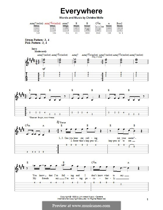 Everywhere (Fleetwood Mac): Para guitarra (versão facil) by Christine McVie