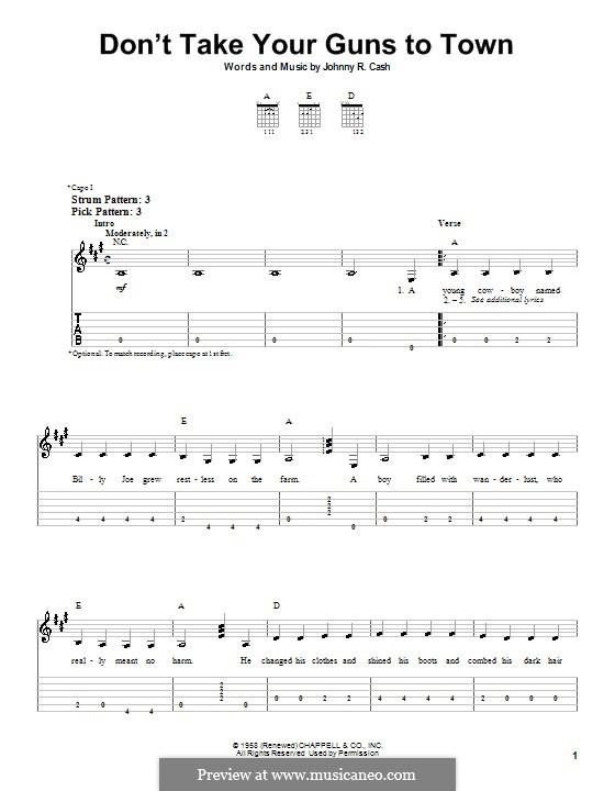 Don't Take Your Guns To Town: Para guitarra (versão facil) by Johnny Cash