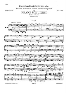 Two Characteristic Marches for Piano Four Hands, D.886 Op.121: partes by Franz Schubert