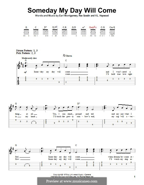Someday My Day Will Come (George Jones): Para guitarra (versão facil) by Earl Montgomery, Rex Gosdin, V. L. Haywood