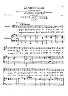 Zur guten Nacht (Good Night), D.903 Op.81 No.3: Partitura piano-vocal by Franz Schubert