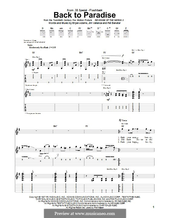 Back to Paradise (38 Special): Para guitarra com guia by Bryan Adams, Jim Vallance, Pat Benatar
