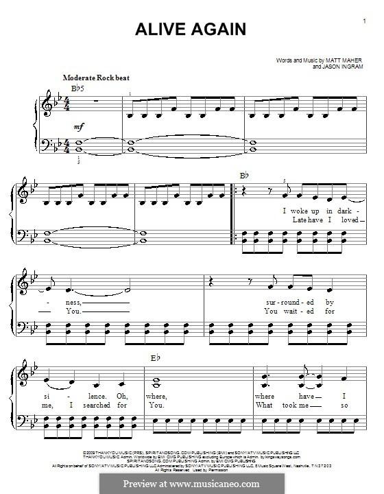 Alive Again: Facil para o piano by Jason David Ingram