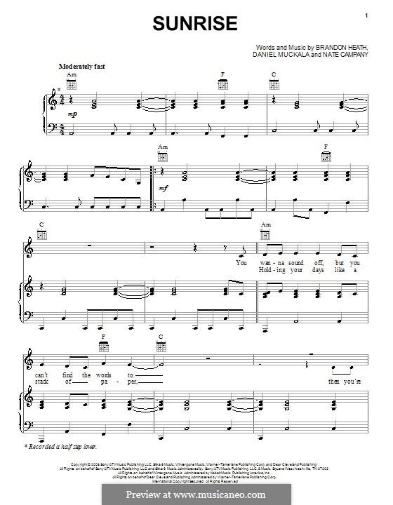 Sunrise: Para vocais e piano (ou Guitarra) by Dan Muckala, Nate Campany
