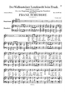 Der Wallensteiner Lanzknecht beim Trunk (Wallenstein's Infantryman Drinking), D.931: Para vocais e piano by Franz Schubert