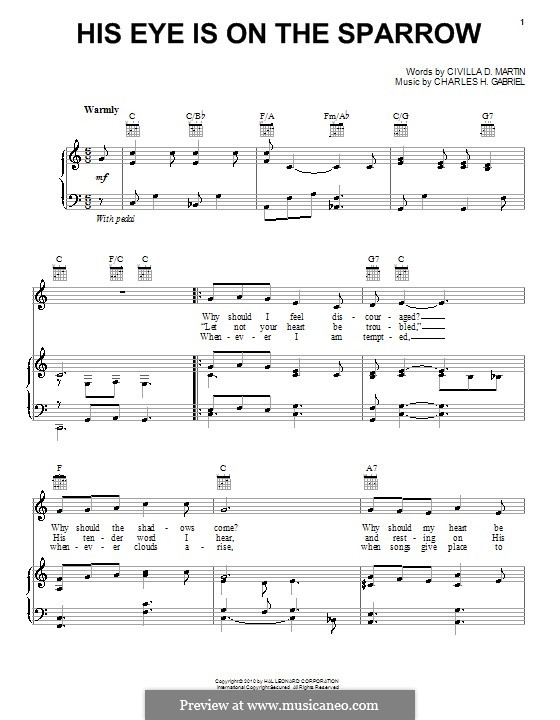 His Eye Is on the Sparrow (Ethel Waters): Para vocais e piano (ou Guitarra) by Charles Hutchinson Gabriel