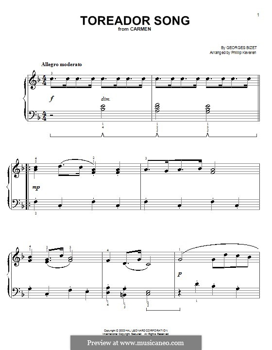 Toreador's Song: versão muito facil by Georges Bizet