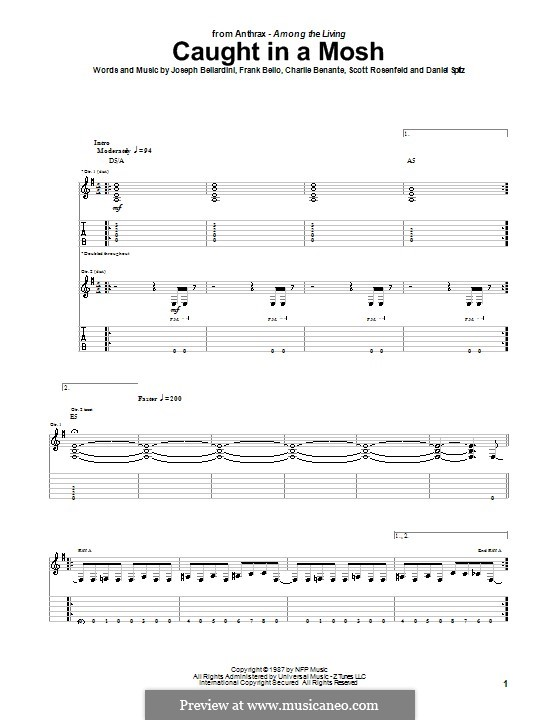 Caught in a Mosh (Anthrax): Para guitarra com guia by Charlie Benante, Daniel Spitz, Frank Bello, Joseph Bellardini, Scott Ian Rosenfeld