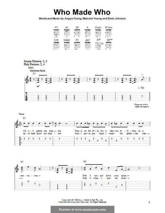 Who Made Who (AC/DC): Para guitarra (versão facil) by Angus Young, Brian Johnson, Malcolm Young