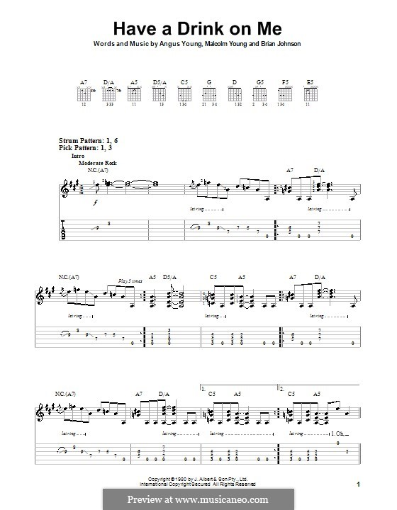 Have a Drink on Me (AC/DC): Para guitarra (versão facil) by Angus Young, Brian Johnson, Malcolm Young