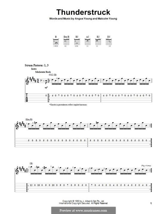 Thunderstruck (AC/DC): Para guitarra (versão facil) by Angus Young, Malcolm Young