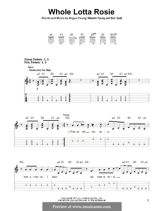 Whole Lotta Rosie (AC/DC): Para guitarra (versão facil) by Angus Young, Bon Scott, Malcolm Young