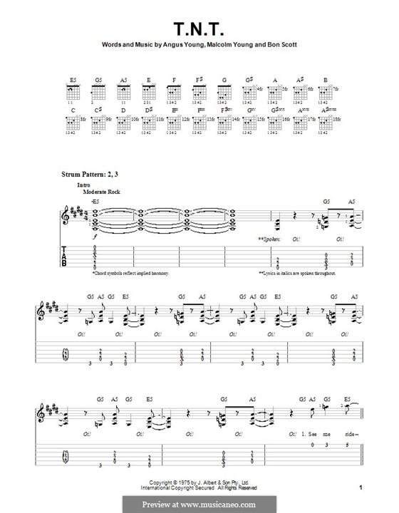 T.N.T. (AC/DC): Para guitarra (versão facil) by Angus Young, Bon Scott, Malcolm Young