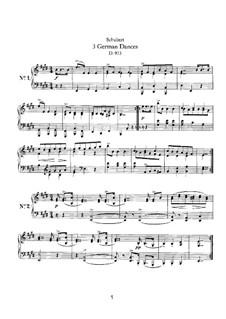 Three German Dances, D.973: para um único musico (Editado por H. Bulow) by Franz Schubert