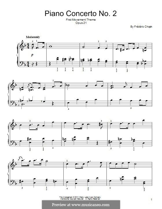 Fragmnets: Movimento I (Tema). Versão facil para piano by Frédéric Chopin