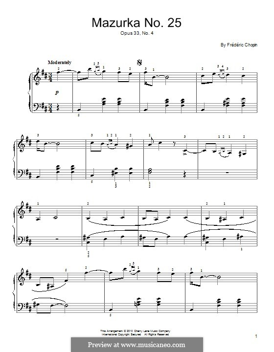 Mazurkas, Op.33: No.4 in B Minor by Frédéric Chopin
