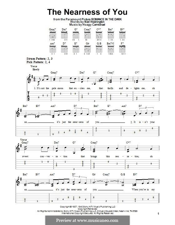 The Nearness of You: guia facil de guitarra by Hoagy Carmichael