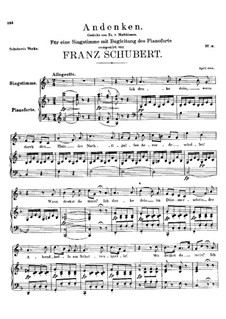 Andenken (Remembrance), D.99: Para voz e piano (F maior) by Franz Schubert
