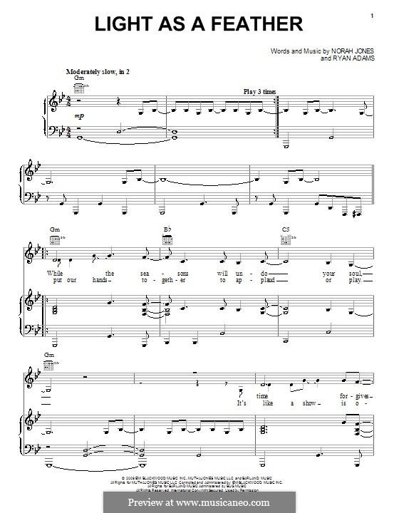 Light as a Feather: Para vocais e piano (ou Guitarra) by Norah Jones