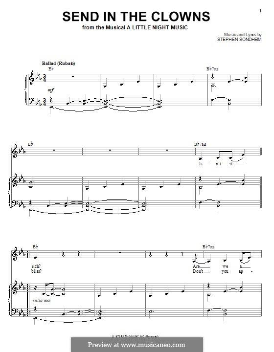 Send in the Clowns (from A Little Night Music): Para vocais e piano (ou Guitarra) by Stephen Sondheim