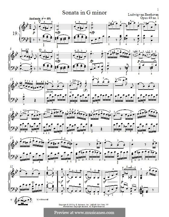 Sonata for Piano No.19, Op.49 No.1: para um único cantor (Partitura de alta qualidade) by Ludwig van Beethoven