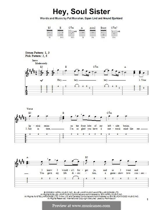Hey, Soul Sister (Train): Para guitarra (versão facil) by Amund Bjorklund, Espen Lind, Patrick Monahan