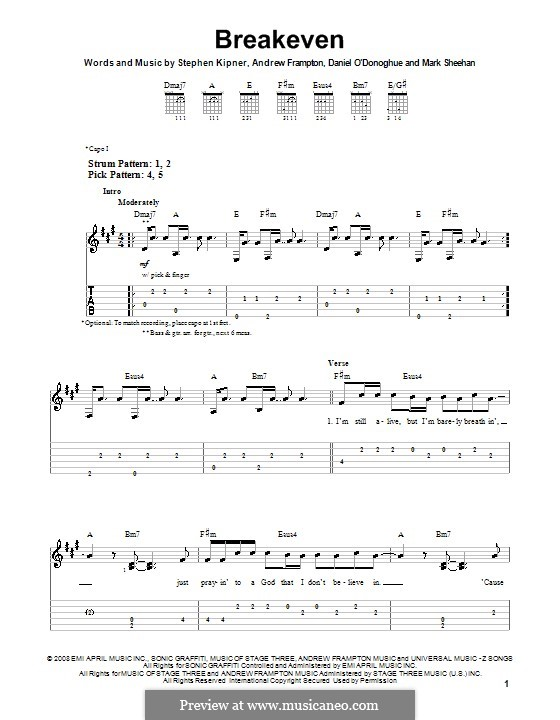 Breakeven (The Script): Para guitarra (versão facil) by Andrew Frampton, Danny O'Donoghue, Mark Sheehan, Stephen Alan Kipner