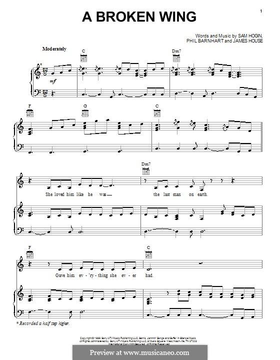 A Broken Wing (Martina McBride): Para vocais e piano (ou Guitarra) by James House, Phil Barnhart, Sam Hogin