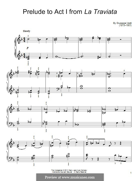 Fragments: Act I No.1 Prelude, for easy piano by Giuseppe Verdi