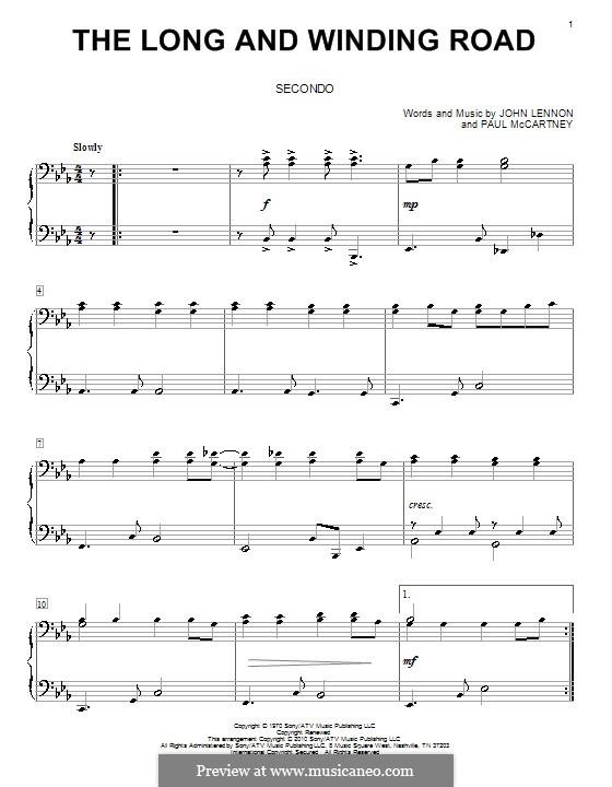 The Long and Winding Road (The Beatles): para piano de quadro mãos by John Lennon, Paul McCartney