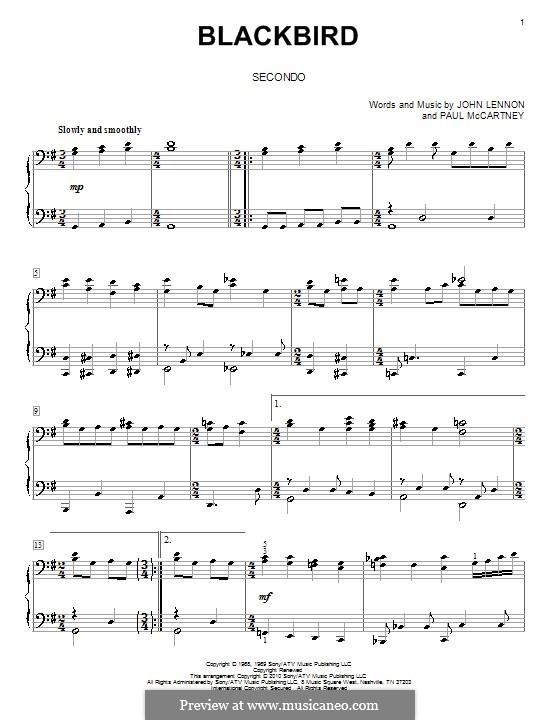 Blackbird (The Beatles): para piano de quadro mãos by John Lennon, Paul McCartney