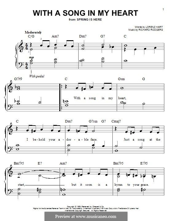 With a Song in My Heart: Facil para o piano by Richard Rodgers