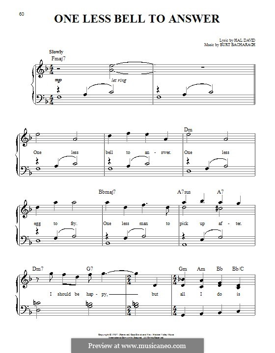 One Less Bell to Answer: Facil para o piano by Burt Bacharach