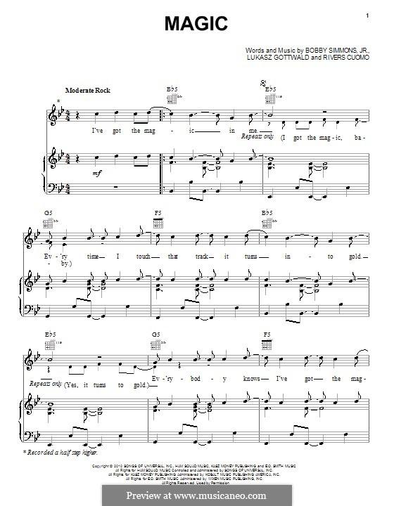 Magic (B.o.B. featuring Rivers Cuomo): Para vocais e piano (ou Guitarra) by Bobby Ray Simmons Jr., Lukas Gottwald, Rivers Cuomo