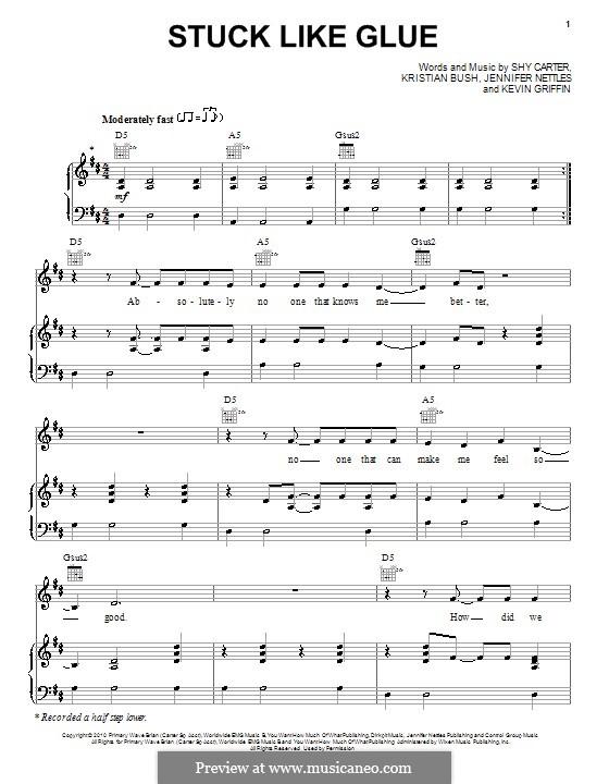 Stuck Like Glue (Sugarland): Para vocais e piano (ou Guitarra) by Jennifer Nettles, Kevin Griffin, Kristian Bush, Shy Carter