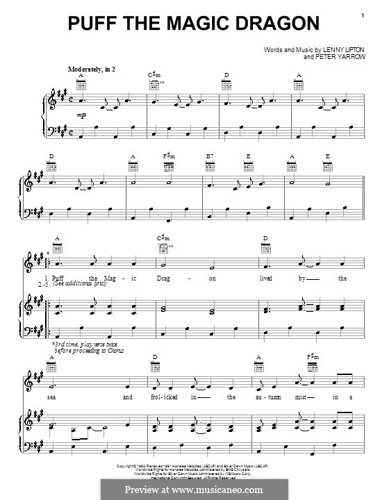 Puff the Magic Dragon (Peter, Paul & Mary): Para vocais e piano (ou Guitarra) by Lenny Lipton, Peter Yarrow
