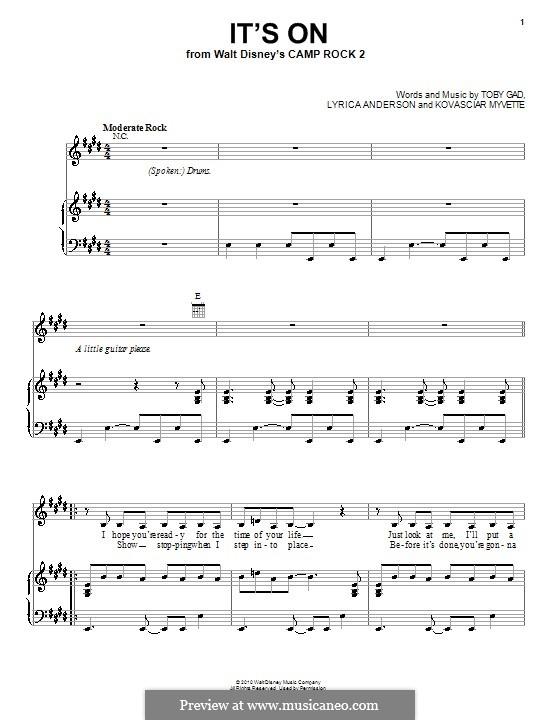 It's On (Camp Rock 2 (Movie)): Para vocais e piano (ou Guitarra) by Kovasciar Myvette, Lyrica Anderson, Tobias Gad