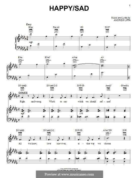 Happy / Sad: Para vocais e piano (ou Guitarra) by Andrew Lippa