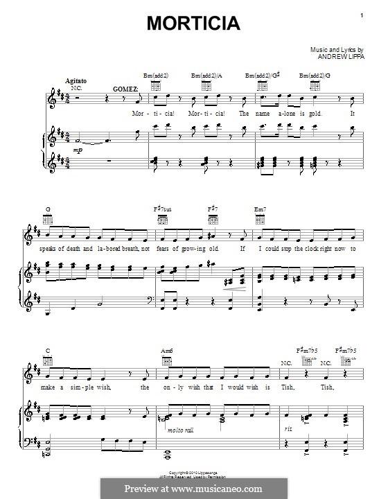 Morticia: Para vocais e piano (ou Guitarra) by Andrew Lippa