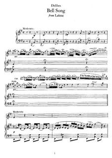 Bell Song: Para vocais e piano by Léo Delibes