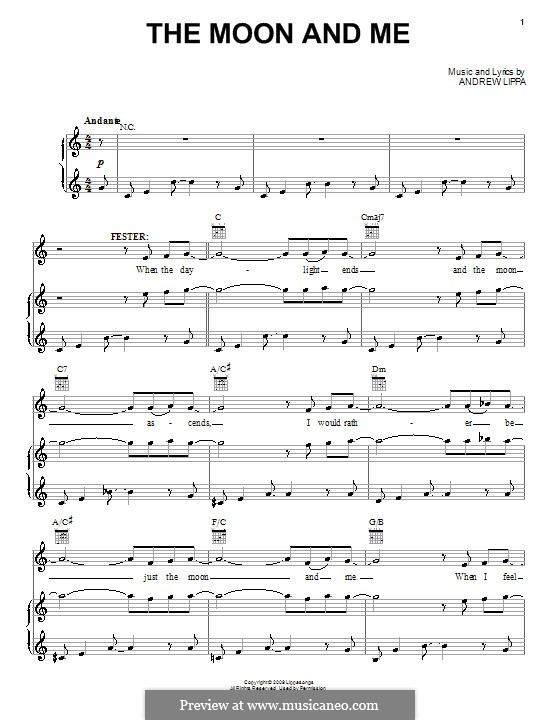 The Moon and Me: Para vocais e piano (ou Guitarra) by Andrew Lippa