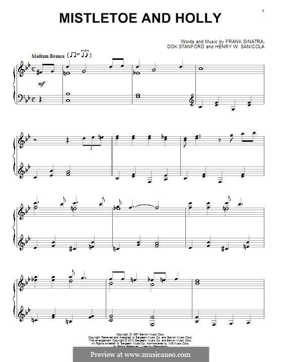 Mistletoe and Holly (Frank Sinatra): Para Piano by Dok Stanford, Henry W. Sanicola