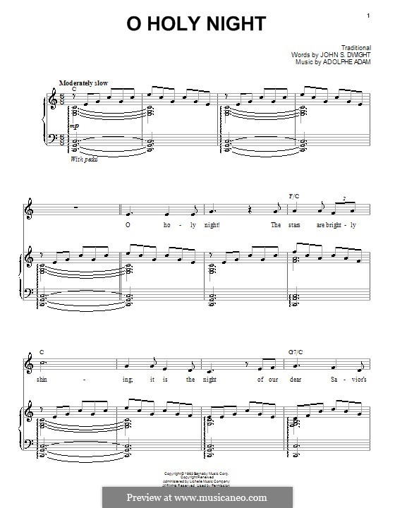 O Holy Night (Printable Scores): For voice and piano (or guitar) C Major by Adolphe Adam