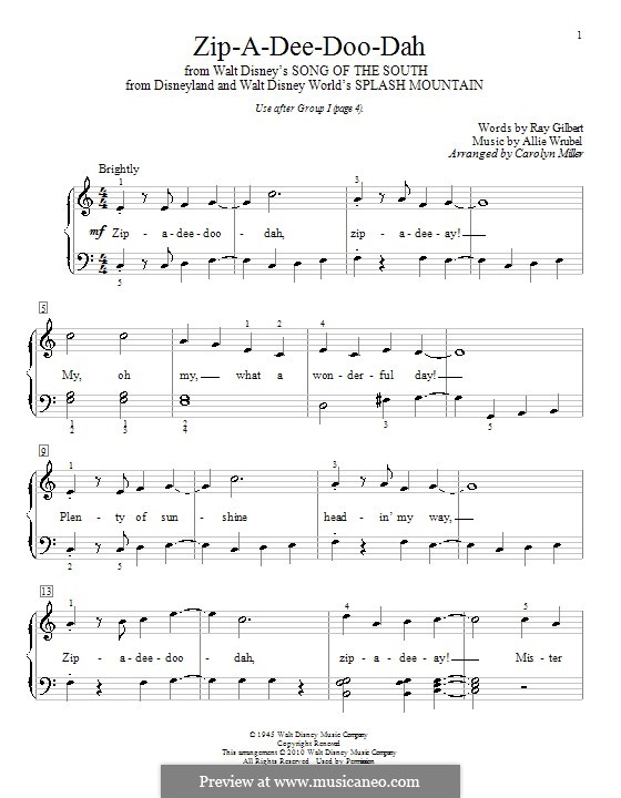Zip-A-Dee-Doo-Dah: Para piano (com letras) by Allie Wrubel