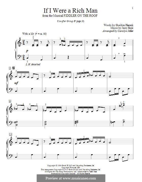 If I Were a Rich Man (from The Fiddler on the Roof): Para Piano by Jerry Bock
