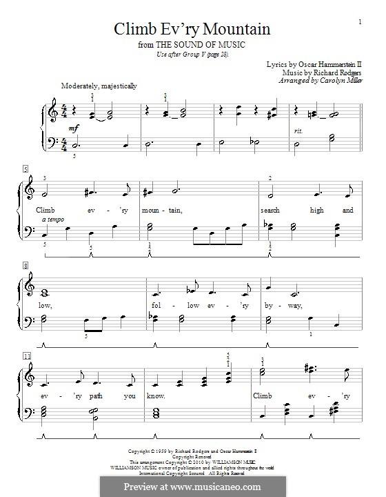 Climb Ev'ry Mountain: Para piano (com letras) by Richard Rodgers