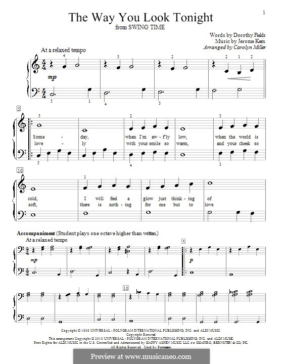 The Way You Look Tonight, for Piano: For a single performer (C Major) by Jerome Kern
