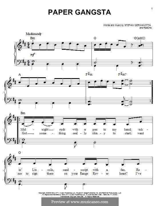 Paper Gangsta (Lady Gaga): Facil para o piano by RedOne, Stefani Germanotta