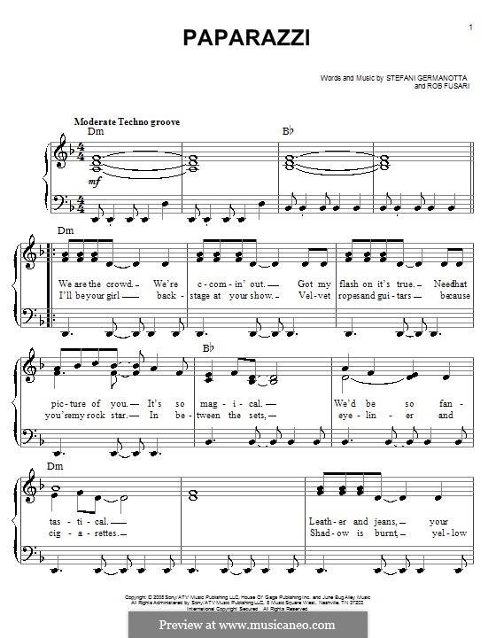 Paparazzi (Lady Gaga): Facil para o piano by Robert Fusari, Stefani Germanotta